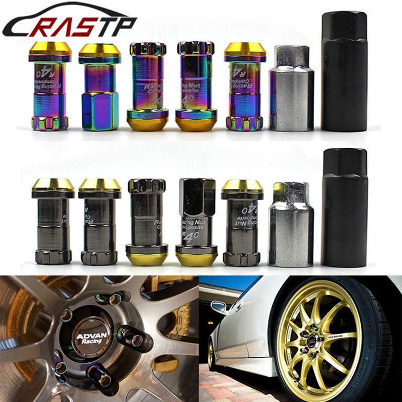 RASTP-Projet Cci Racing Composite R40 Neo Titane Chrome En Acier Serrure Antivol Wheel Lug Nuts M12x1.5 ou M12x1.25 RS-LN003