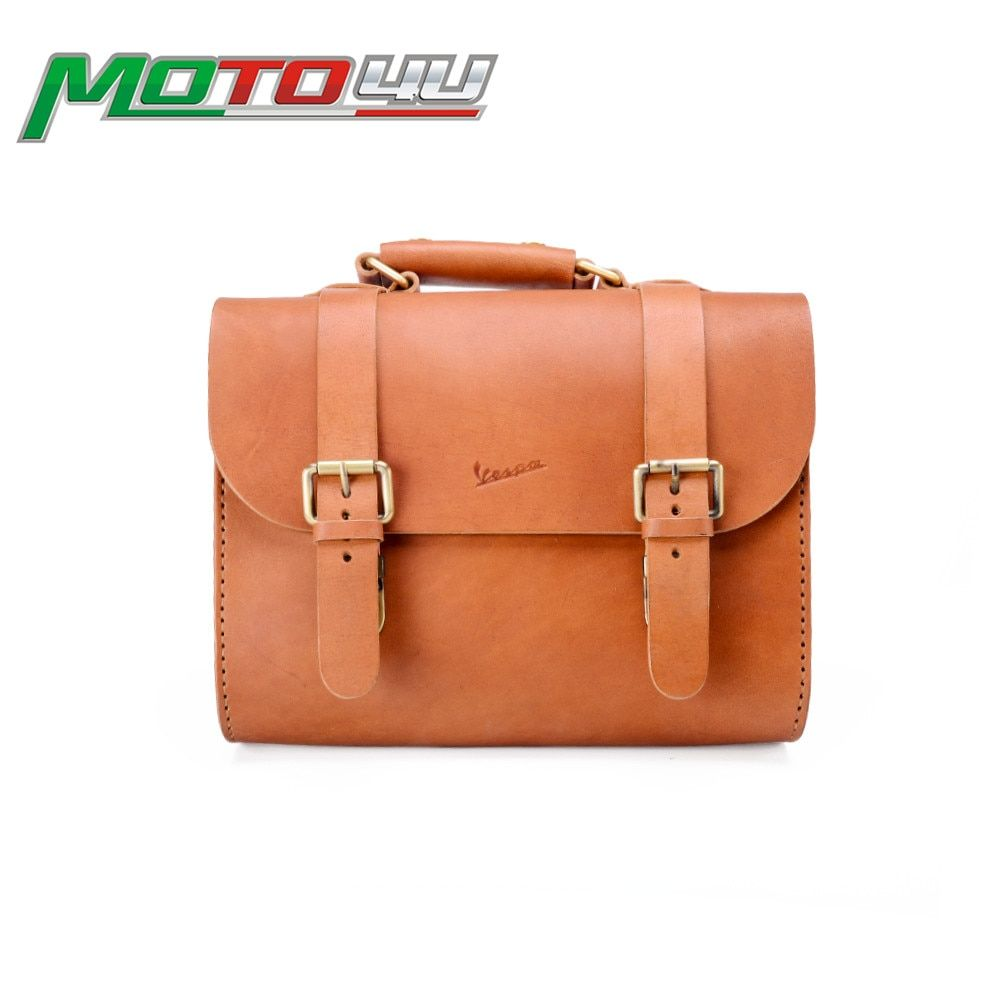 Classic Carry Leather bag Genuine Leather Cowhide Fits Nicely On Front Racks For Vespa GTS GTV LX LXV Sprint Primavera