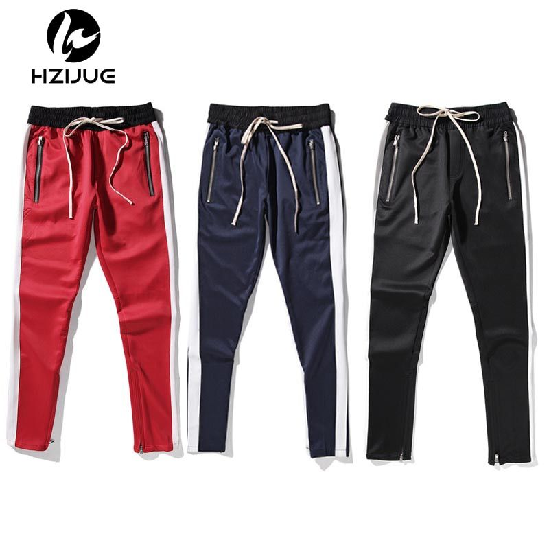 2018 new fashion 5 colors mens and womens fear of god track pants ankle zip tapered sweatpants for men zipper pocket trouser