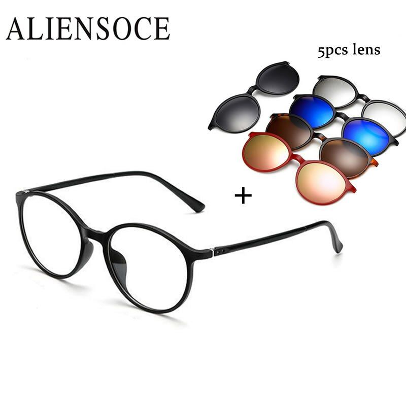 5 Lentille Lunettes De Soleil Aimant Clip Miroir Clip sur Magnétique lunettes de Soleil Clip sur Lunettes Hommes Polarisées Clip Personnalisé Prescription Myopie