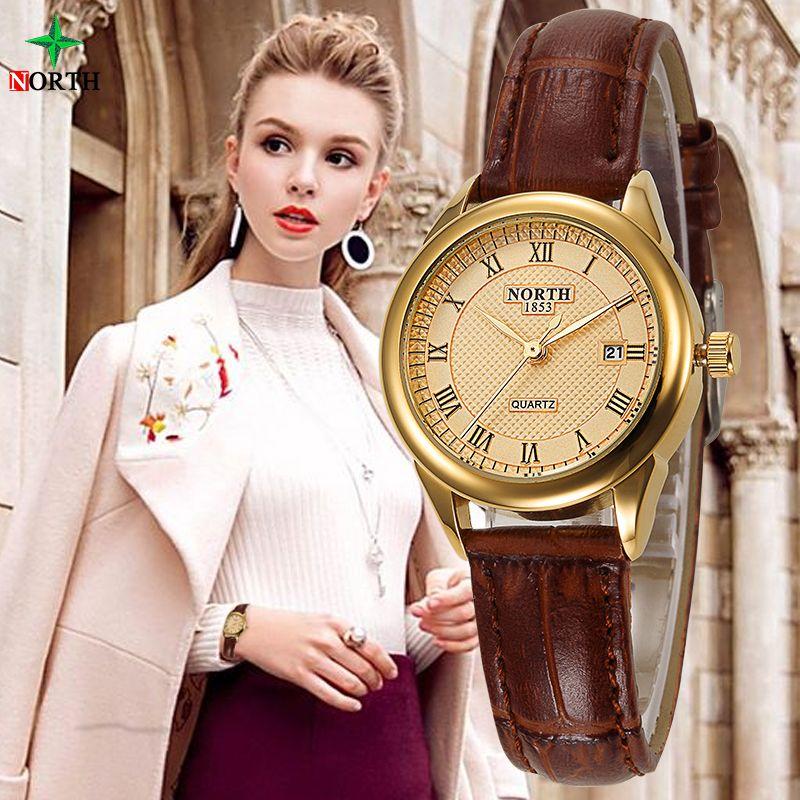 Femmes Mode Casual Montre 30 M Étanche Marque De Luxe Quartz Femme Montres 2017 Horloge Dames NORD Or Robe Montre-Bracelet Femmes