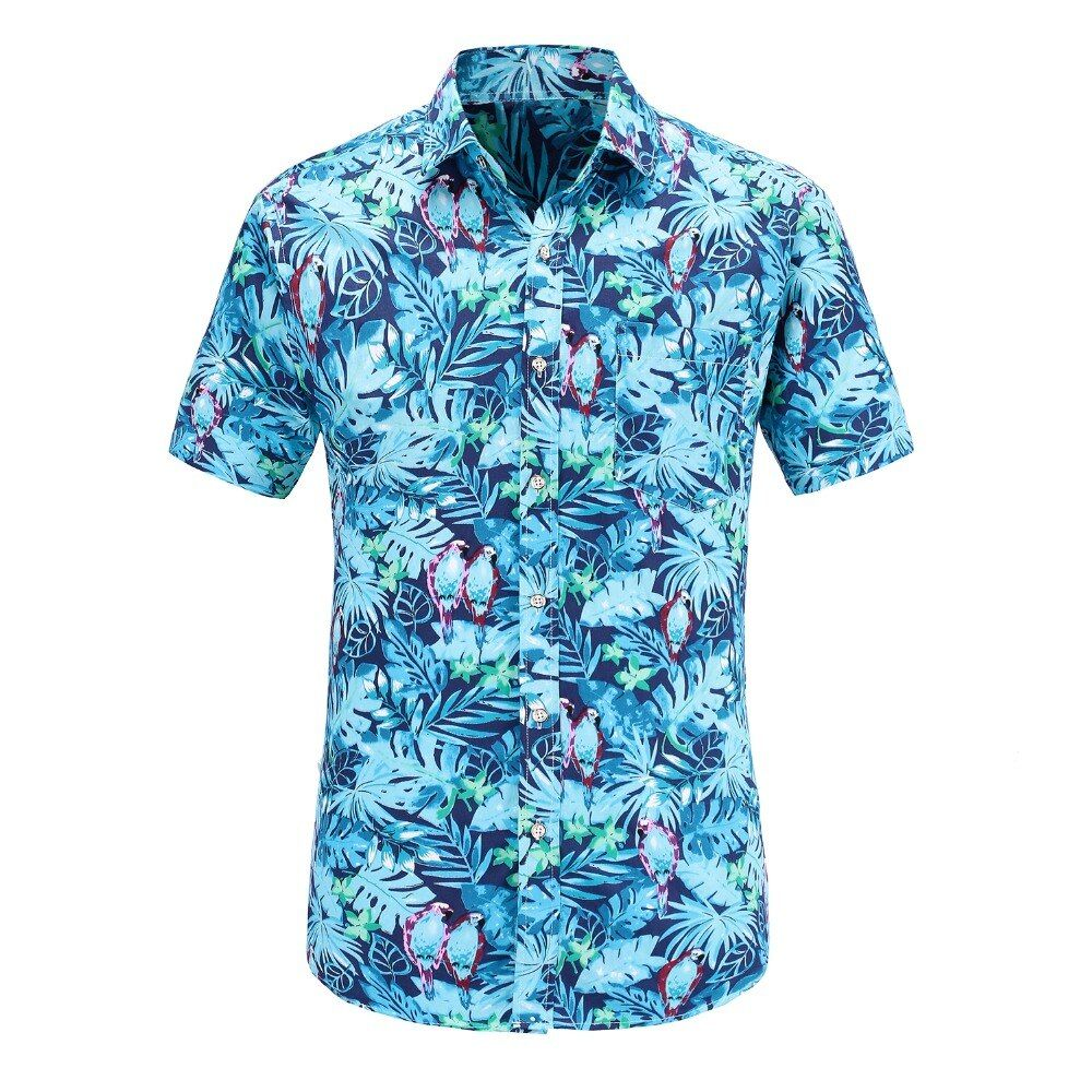 Dioufond Short Sleeve Men Shirt Hawaiian Casual Shirt Male Fit Summer Pattern Shirts Flamingos Cotton Mens Dress Shirts Plus