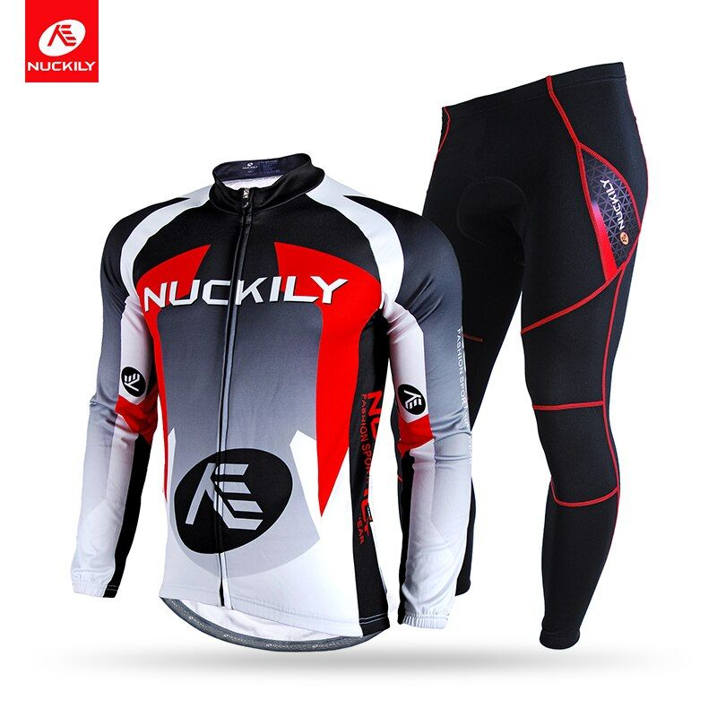 NUCKILY Winter Cycling Set Men's Thermal Fleece Bicycle Jersey and Foam Pad Pants Long Sleeves Cycle Suit NJ532-NS900-W