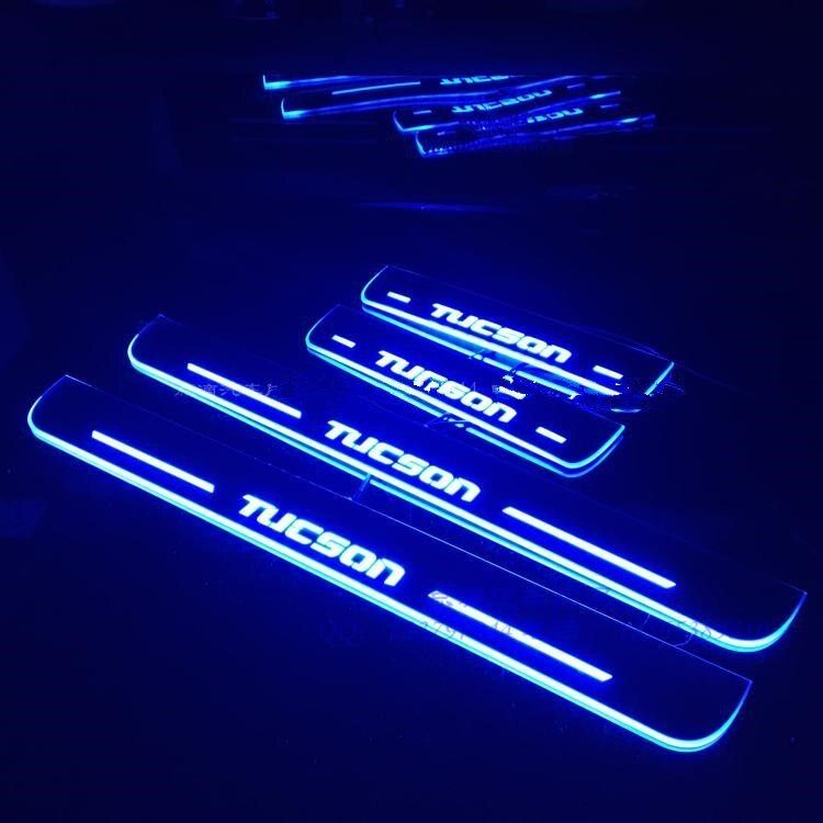 Qirun acrylic led moving door scuff welcome light pathway lamp door sill plate linings for Hyundai Tucson 2015 2016