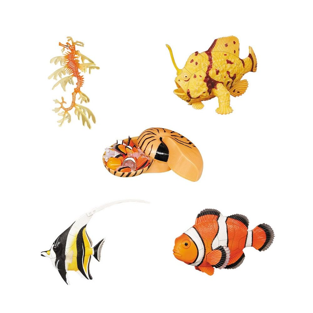 Assorted 4pcs/set of ukenn 3nd generation 3D coral fish puzzles DIY models kids educational toy 5666