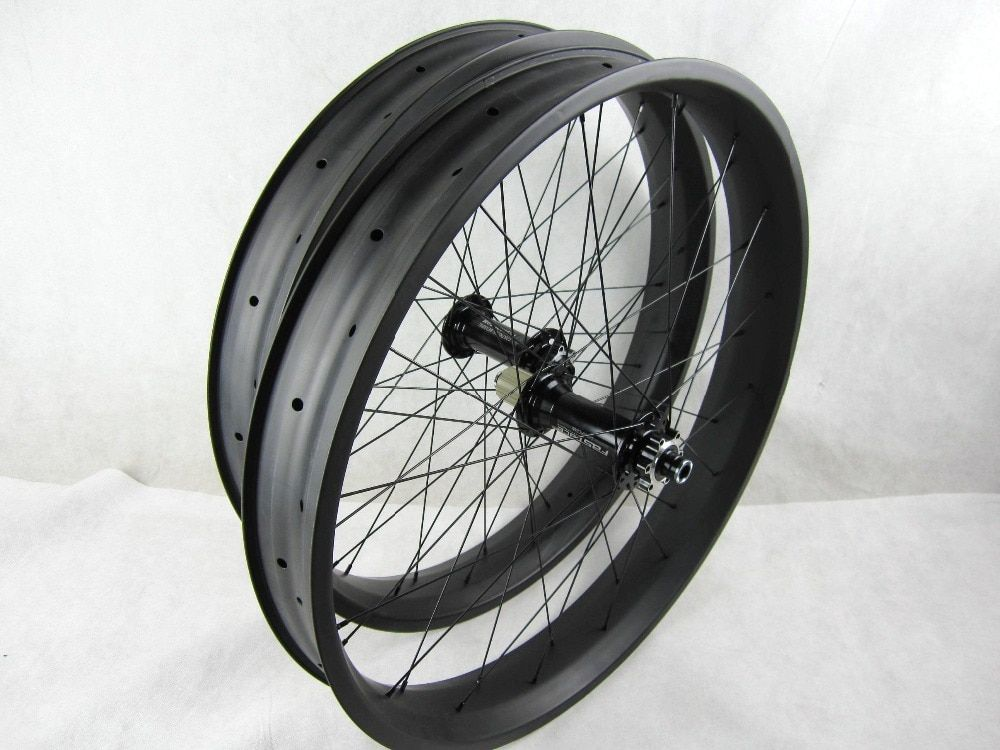 free shipping carbon fat bike wheels 80mm 26 inch Carbon Fat Bike wheelset thru axle 150 135*15/197 190*12mm wheel