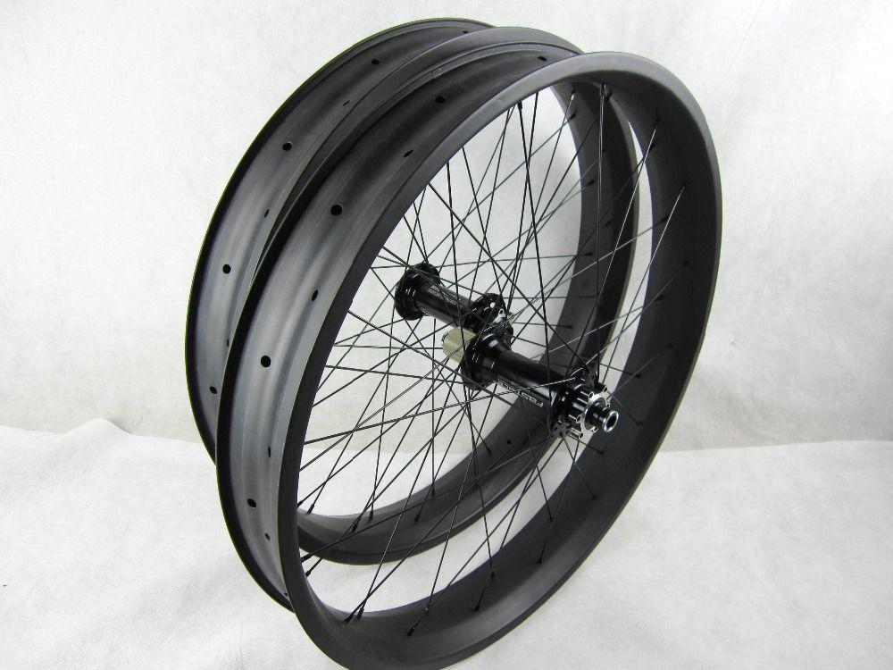 free shipping carbon fat bike wheels 80mm 26 inch Carbon Fat Bike wheelset thru axle 150 135*15/197 190*12mm wheel