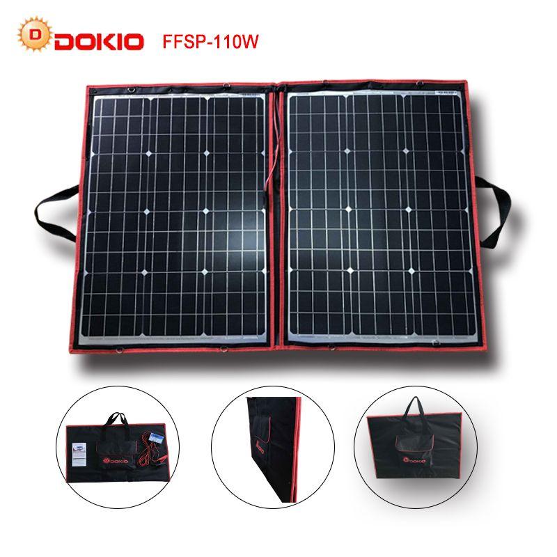 Dokio 90W 100W 110W (55Wx2Pcs) 18V Flexible Black Solar Panels China Foldable + 12/24V Volt Controller 110 Watt Panels Solar
