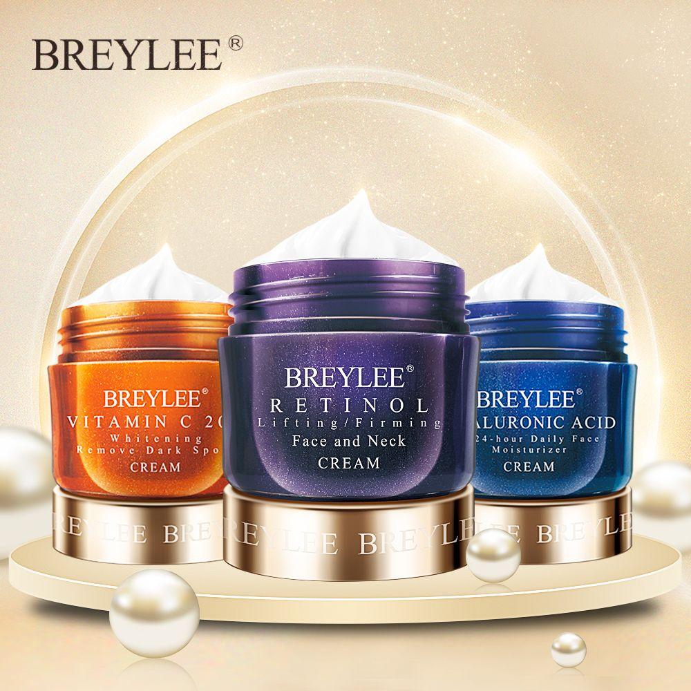 BREYLEE Face Cream Hyaluronic Acid Moisturizing Day Cream Retinol Anti Wrinkle Vitamin C Whitening Skin Care Acne Treatment 40g
