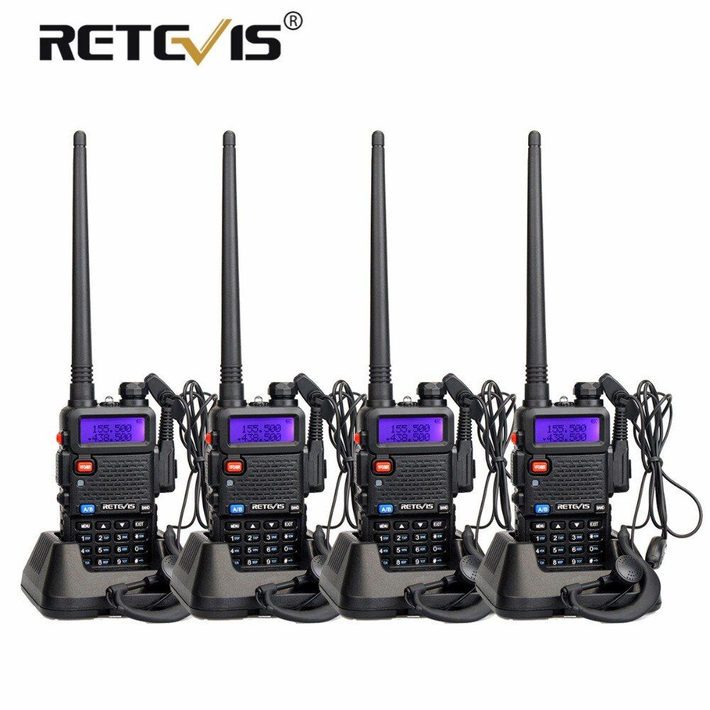 4pcs Portable Radio Walkie Talkie Retevis 5W RT5R 128CH VHF UHF Dual Band Amateur Radio Hf Transceiver 2 Way Radio Station RT-5R