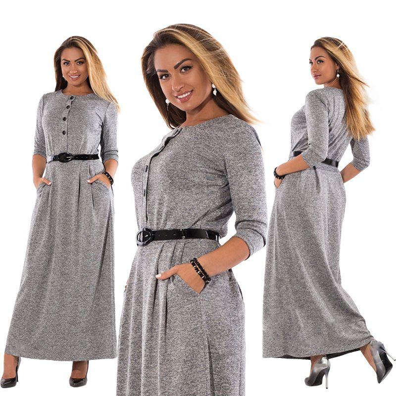 5xl 6xl robe 2017 Otoño Invierno tamaño grande elegante manga larga Maxi vestido mujeres Oficina Vestidos más tamaño ropa de las mujeres