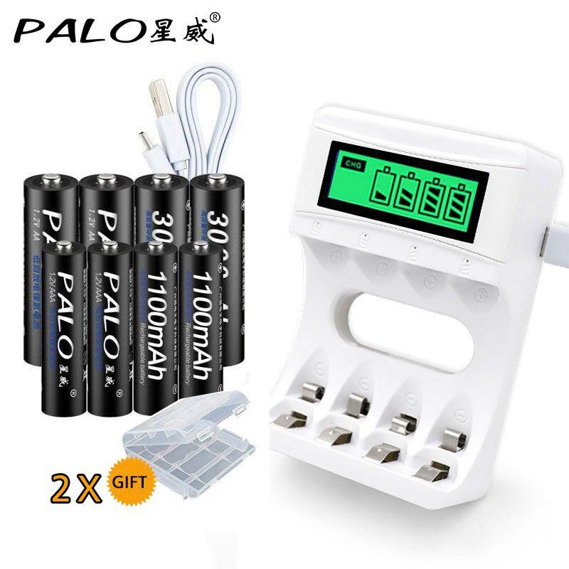 Smart LCD Display USB <font><b>Battery</b></font> Charger For Ni-Cd Ni-Mh AA AAA Rechargeable <font><b>Batteries</b></font>+4pcs AA <font><b>Batteries</b></font>+4pcs AAA <font><b>Batteries</b></font>