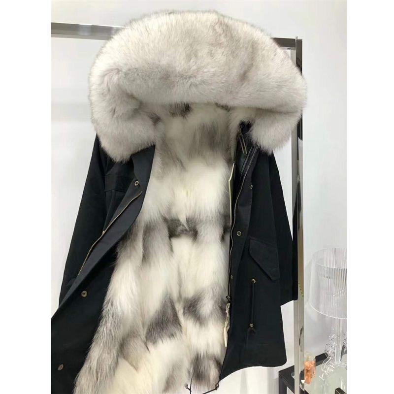 Fashion Women's Real Fox fur Lining Winter Jacket Coat Natural Fox Fur Collar Hooded Thick Warm Long Parkas Outwear WT081