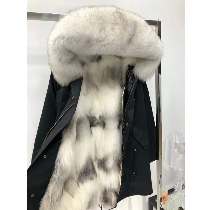 Fashion Women's Real Fox fur Lining Winter Jacket Coat Natural Fox Fur Collar Hooded Thick Warm Long Parkas Outwear WT081