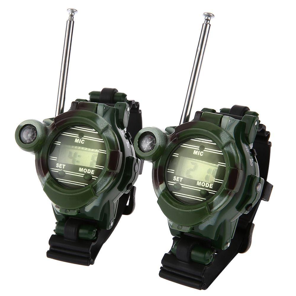2pcs 7 In 1 Walkie Talkie Watch Camouflage Style Children Outdoor Toy Kids 150m Signal Range Interphone Kids Interactive Toys