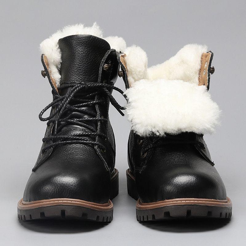 Натуральная Шерсть Мужчины Зимние Сапоги Размер 35 ~ 48 Теплые Натуральная Кожа Русский стиль Мужчины Снегоступы # YM1570