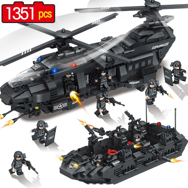 1351Pcs Swat Team Model Building Blocks Chinook Transport Helicopter Corps Figures QUNLONG SWAT City Police Toys