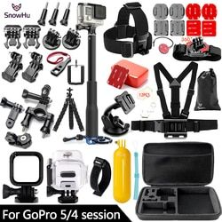 SnowHu for Gopro Hero 6 5 Accessories Set Large Collection Box Monopod for Gopro hero 5 4 for SJCAM for yi 4k Sport Camera GS70