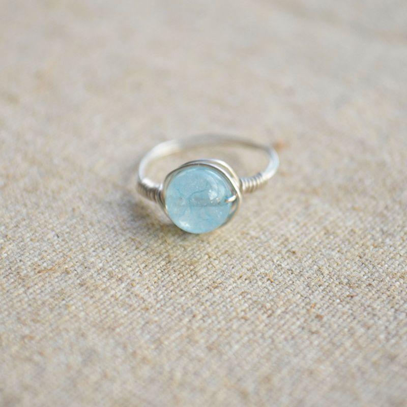 Синее Море treasu Натуральный камень Пасьянс стерлингового серебра 925 Провода завернутый обручальное кольцо Винтаж ювелирные изделия любовь