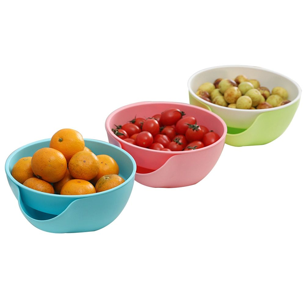 Plastic Snack Bowl with Shell Holder Double Dish Nut Bowl Fruit Tray for Pistachio Edamame Cherries Candy(Random Color)