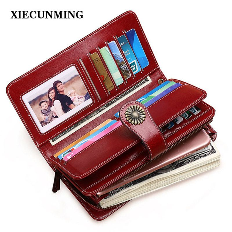 Hot Sale Women Clutch 2017 New Wallet Split Leather Wallet Female Long Wallet Women Zipper Purse Strap Coin Purse For iPhone 8