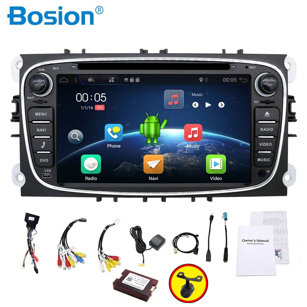 car radio 2 din Android 7.1 car dvd cassette player for ford focus 2 cars tape recorder gps navigation with wifi steering wheel
