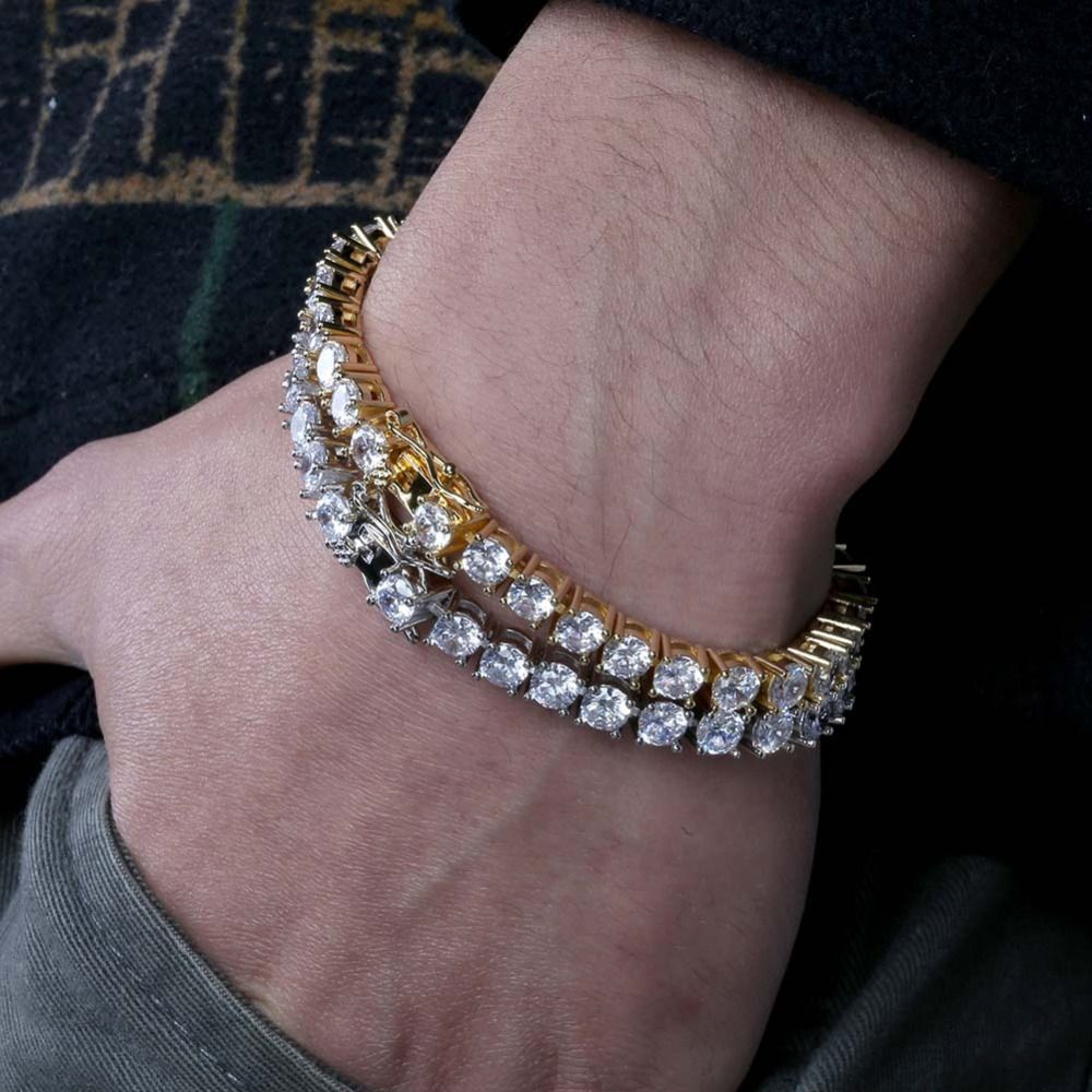 3mm-6mm Mens/Women AAA+ Cubic Zirconia Tennis Bracelet Hip Hop Jewelry Iced Out 1 Row Gold CZ Charms Bracelet For Gifts