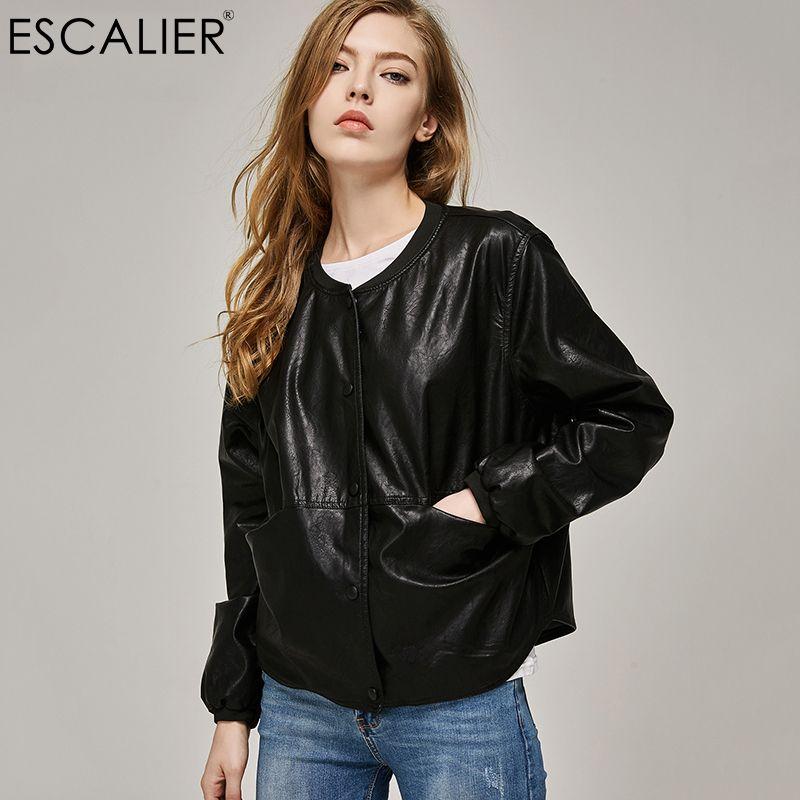 2017 Autumn Leather Jacket Women Casual Long Sleeve Button Slim Coat Fashion PU Leather Bomber Jacket Femininas