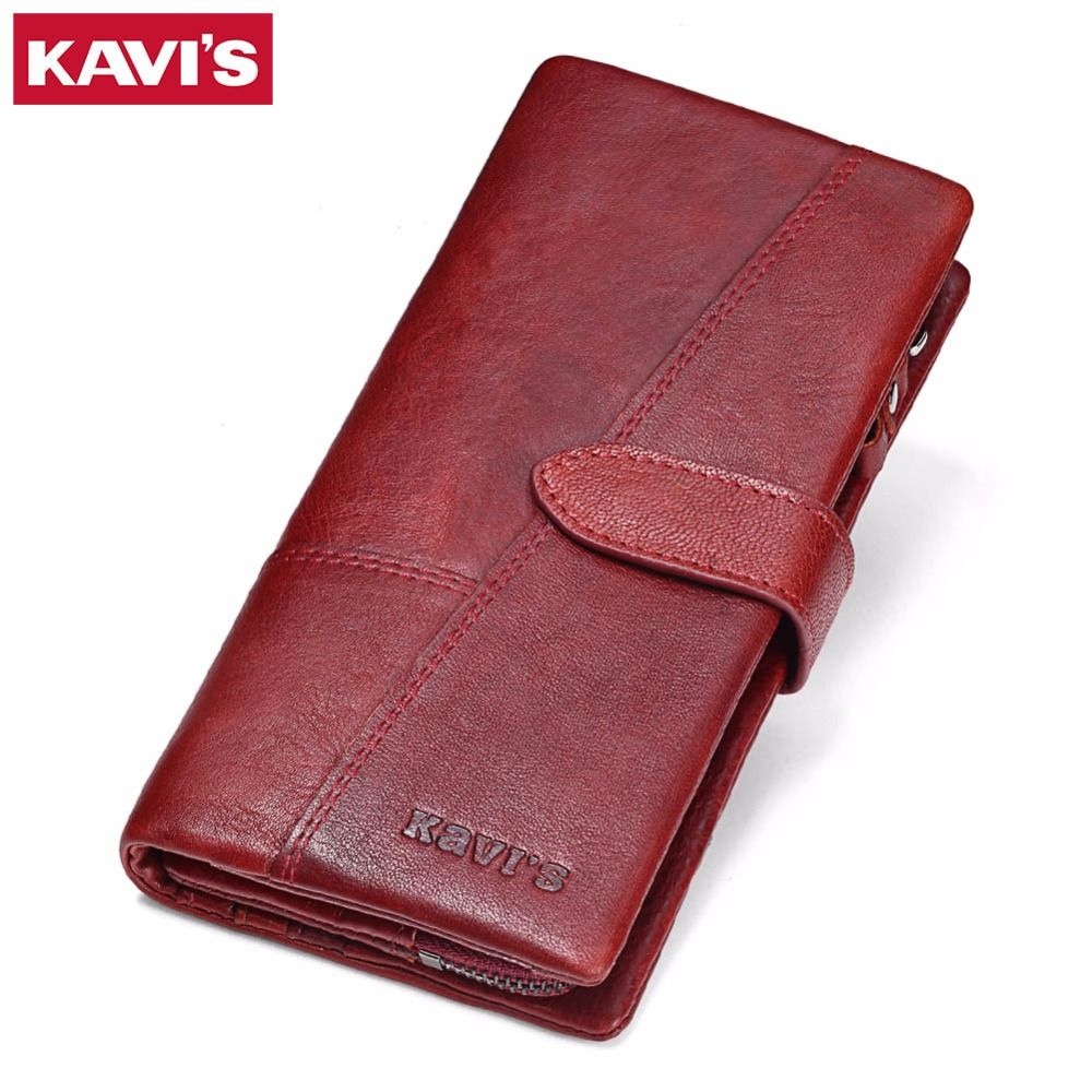 KAVIS Genuine Leather Women Wallet Female Long <font><b>Clutch</b></font> Lady Walet Portomonee Rfid Luxury Brand Money Bag Magic Zipper Coin Purse