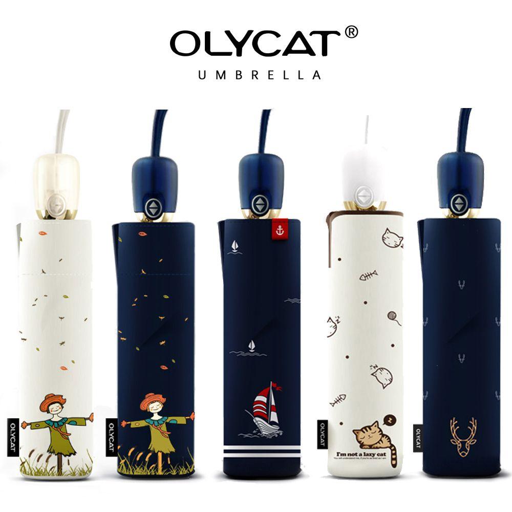 OLYCAT Automatique Parapluie Pluie Femmes Marque Cartoon Imprimer Solaire Pliant Parapluies Coupe-Vent Anti UV Parasol 5 Styles Paraguas