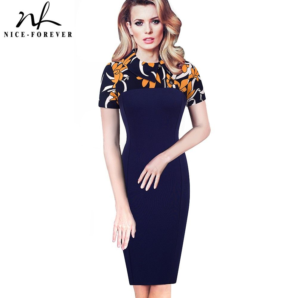 Nice-forever Elegant Vintage Fitted winter dress full Sleeve Patchwork Turn-down Collar Button <font><b>Business</b></font> Sheath Pencil Dress b238