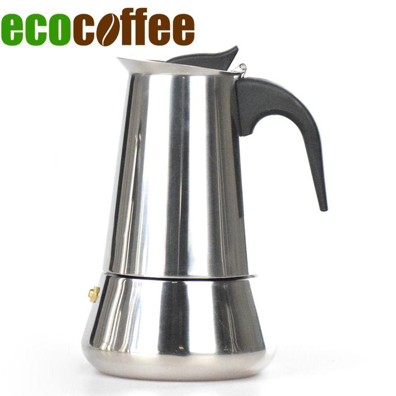 Acier inoxydable pot de moka Espresso Latte Percolateur Cuisinière cafetière 2/4/6 Tasses Moka Décideurs