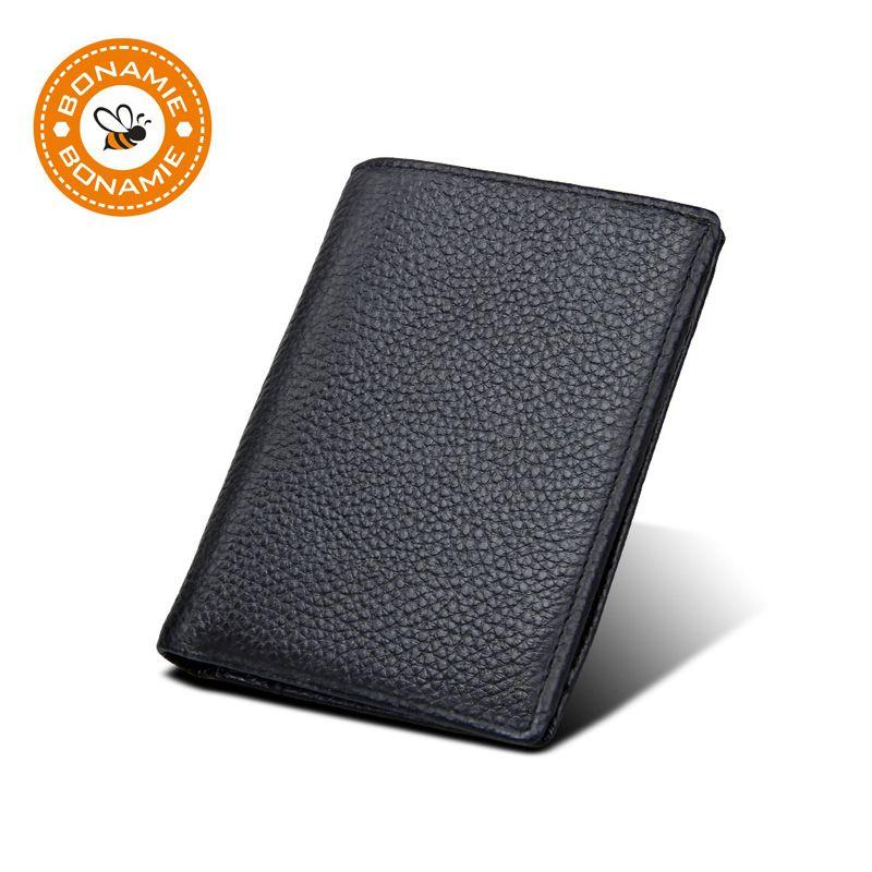 BONAMIE hommes mince portefeuille RFID en cuir véritable mince homme court sac à main avec fermeture éclair poche mâle carte de crédit bancaire titulaire noir 2019