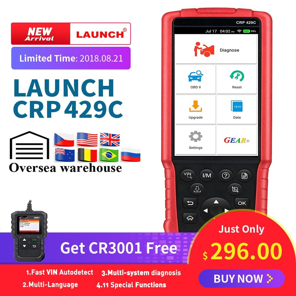 LAUNCH X431 CRP429C OBD2 Code Reader Scanner for Engine/ABS/SRS/AT+11 Reset Service Creader CRP429 Car Diagnostic Tool pk CRP129
