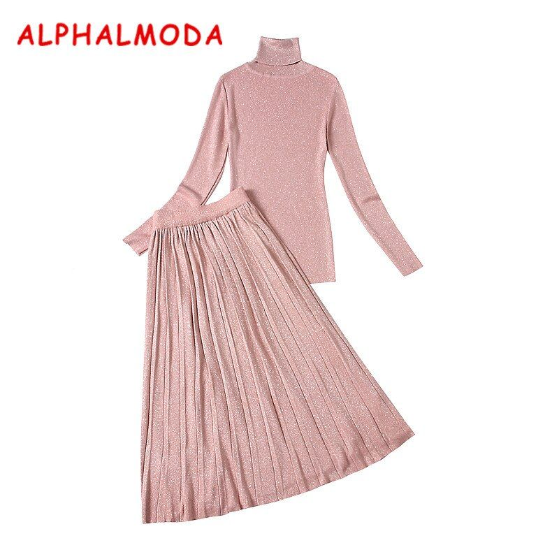 Almoda Women New Bottom Knitting Tshirts and Skirts 2pcs Suits Winter Turtleneck Pleated Midi Skirt Thin Knitted Graceful Suits