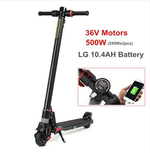 2018 New Dual Motor Folding Carbon Fiber S5 Electric Skateboard 500W Fortable Kick Scooter E-Scooter for Adults with LG battery