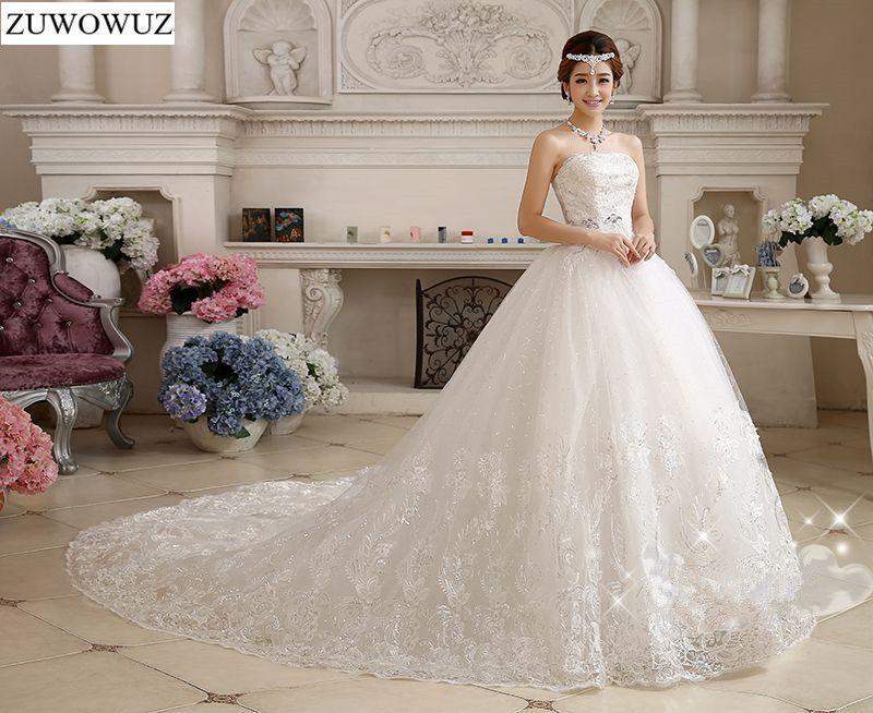 Stock 2017 New Plus size bridal gown wedding dress long trailing train vestidos de noiva Chinese princess backless sexy c11xxn