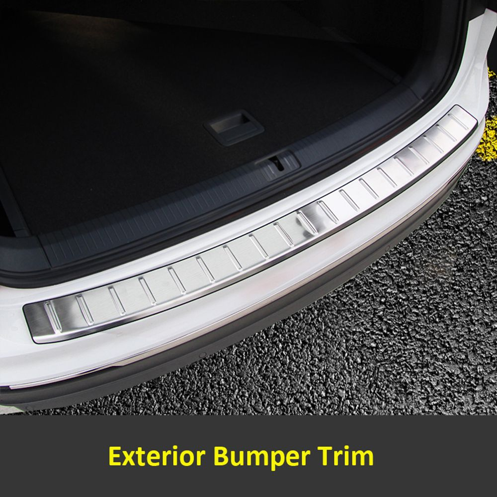 Rear Trunk Exterior Bumper Sill Plate Cover Trim Stainless Steel 1pcs For Volkswagen VW Tiguan 2017