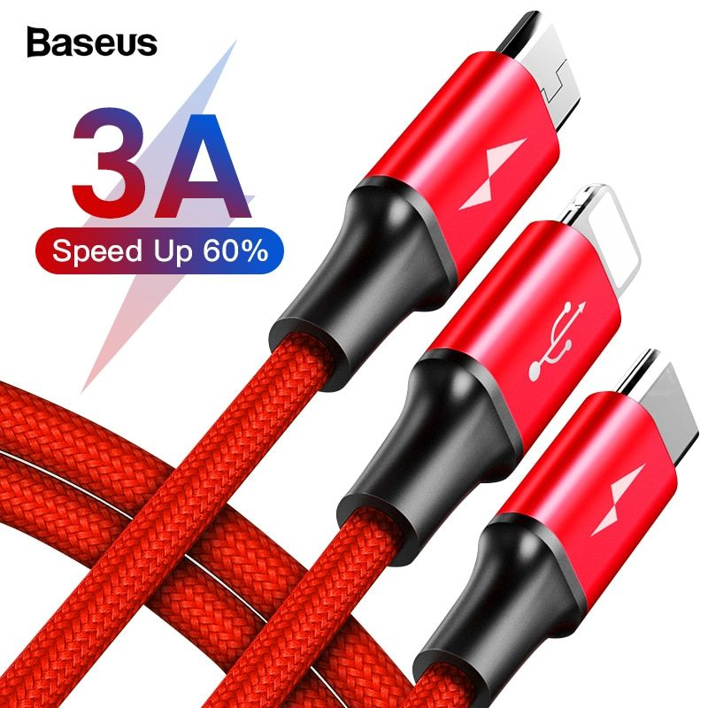 Baseus 3 in 1 USB Cable For iPhone XS Max XR X 8 7 6 5 Charging Charger Micro USB Cable For Mobile Phone USB Type c Type-c Cable