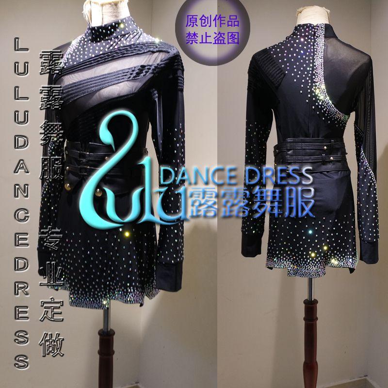 Customizing hochwertigen Latin shirts Latin Dance Kleid Kleidung Salsa Leder Gürtel Wettbewerb mann shirt Schwarz samt stoff