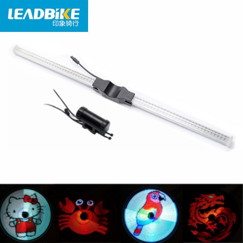 Leadbike New 64 LED RGB Bicycle Wheel Spoke Light Waterproof Programmable DIY Light Bike Smart Lamp Double-sided Display Pattern