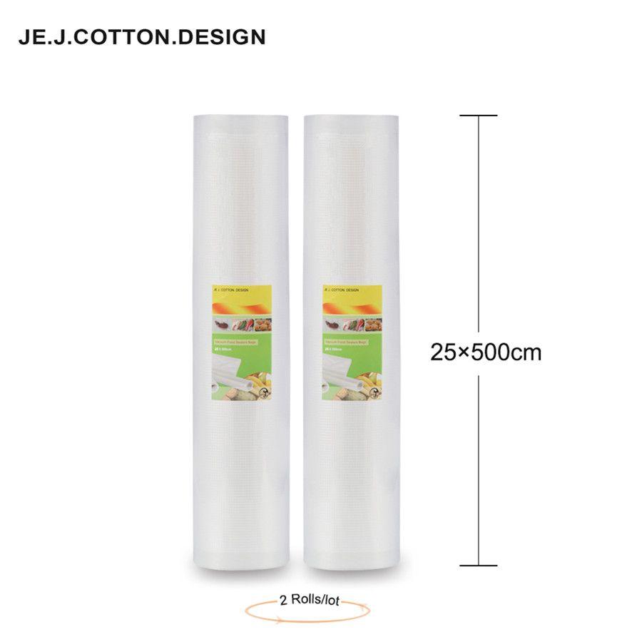2 rouleau/25*500 CM Vide sacs pour nourriture De Stockage Viande Légumes Fruits emballeur sous vide Sacs épais machine d'emballage de grain