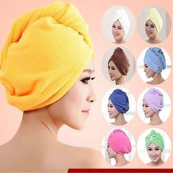 Mode Femmes Absorbant En Microfibre Serviette Turban Cheveux Séchage Bonnets De Douche Queue de Cheval Titulaire Bonnet de Bain Peignoir Chapeau 10 Couleurs