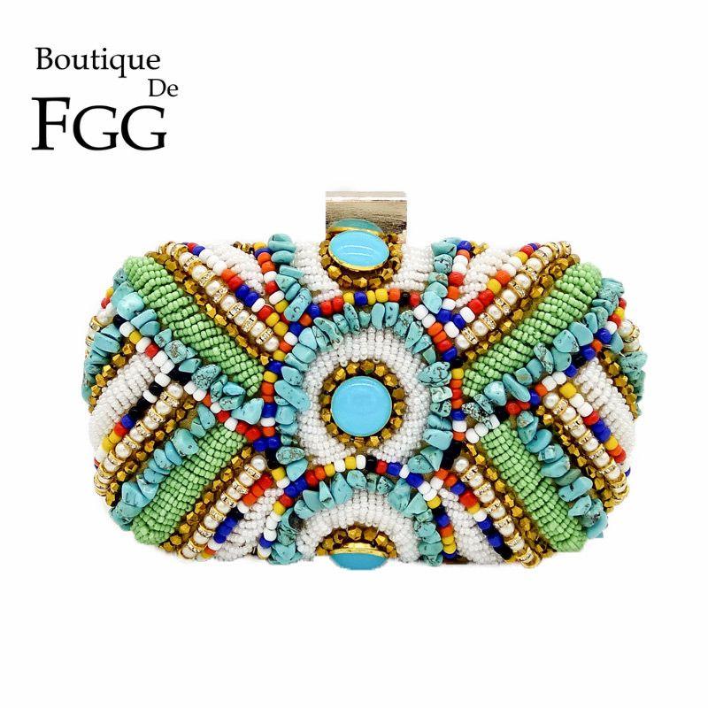 Boutique De FGG Vintage Bohème Femmes Or sacs à main clutch sac perlé Sac De Soirée sac mariage Parti Bolsos De Fiesta Mujer