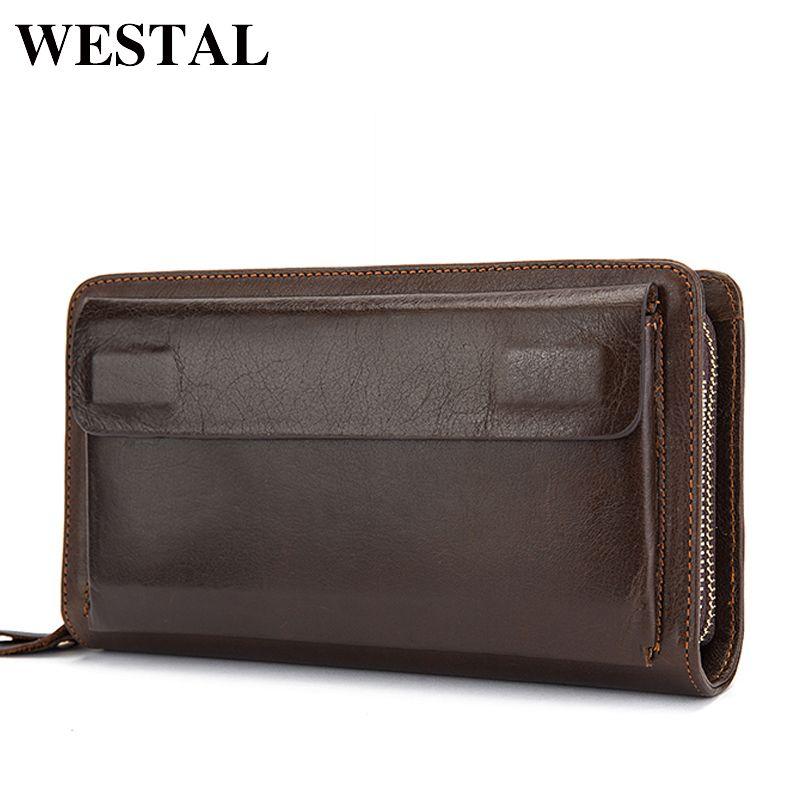 WESTAL Double Zipper Money Clip Wallet <font><b>Clutch</b></font> Bag Men's Purses Genuine Leather Men Wallets Leather Man Wallet Long Male Purse
