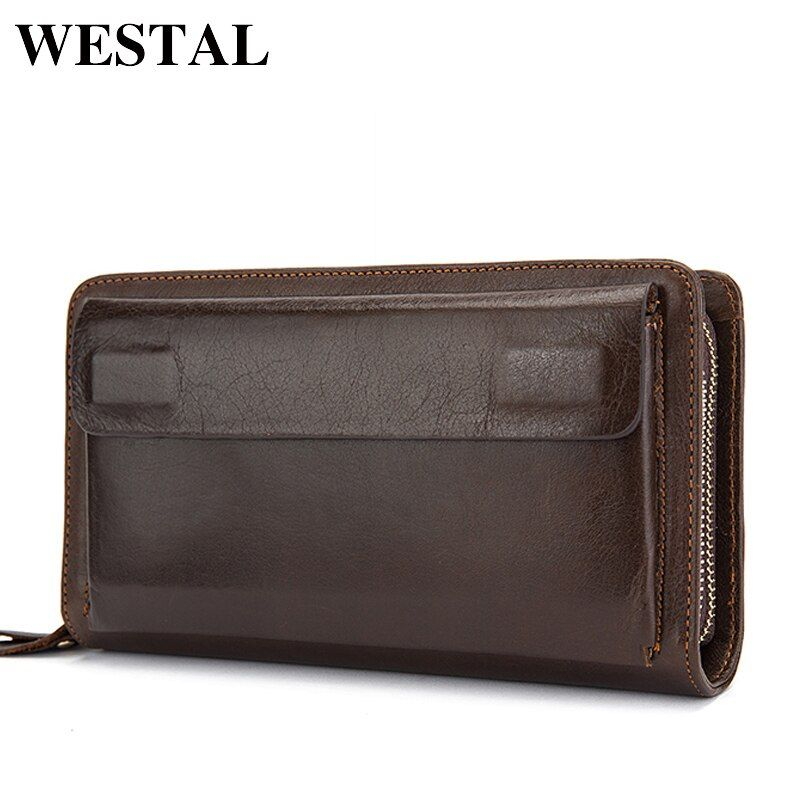 WESTAL Double Zipper Money Clip Wallet Clutch Bag Men's Purses Genuine Leather Men Wallets Leather Man Wallet Long Male Purse
