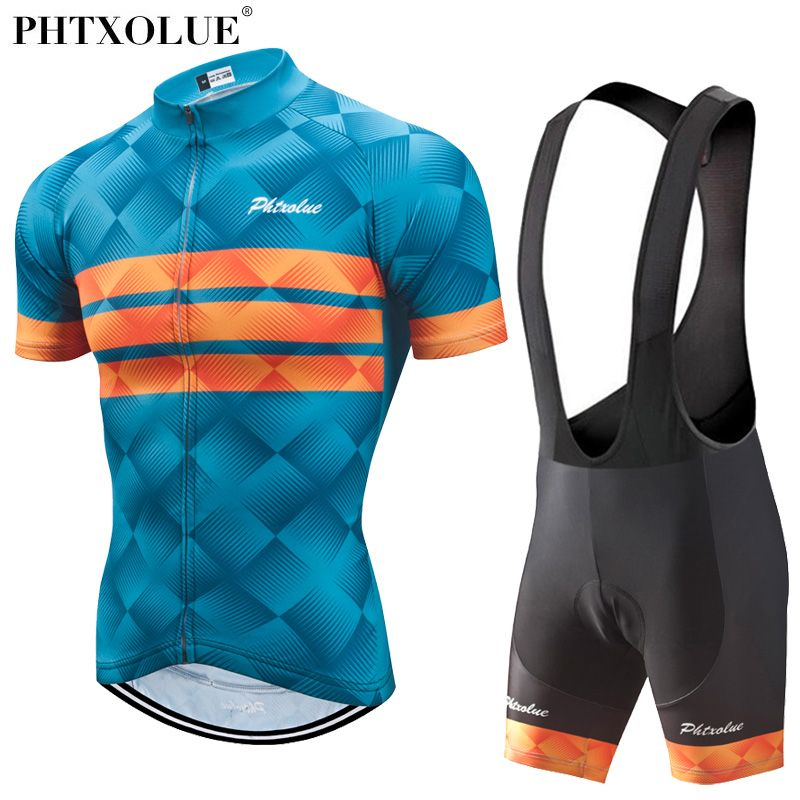 Phtxolue Cycling Clothing Men Set Bike Clothing Breathable Anti-UV Bicycle Wear/Short Sleeve Cycling Jersey Sets