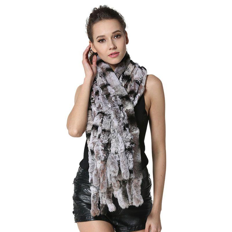 Fashion Women Scarf Classic 8 Vertical Bars Wrap Scarf Long Scarves 145cm*27cm Ladies Winter Real Rex Rabbit Fur Scarves LX00856
