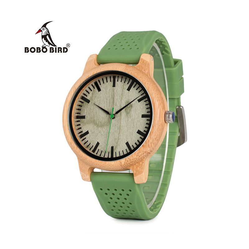 BOBO BIRD Relogio Masculino Watches Women Brand Bamboo Men Watch Silicone Band Quartz Wristwatches relogio <font><b>feminino</b></font> W-B06