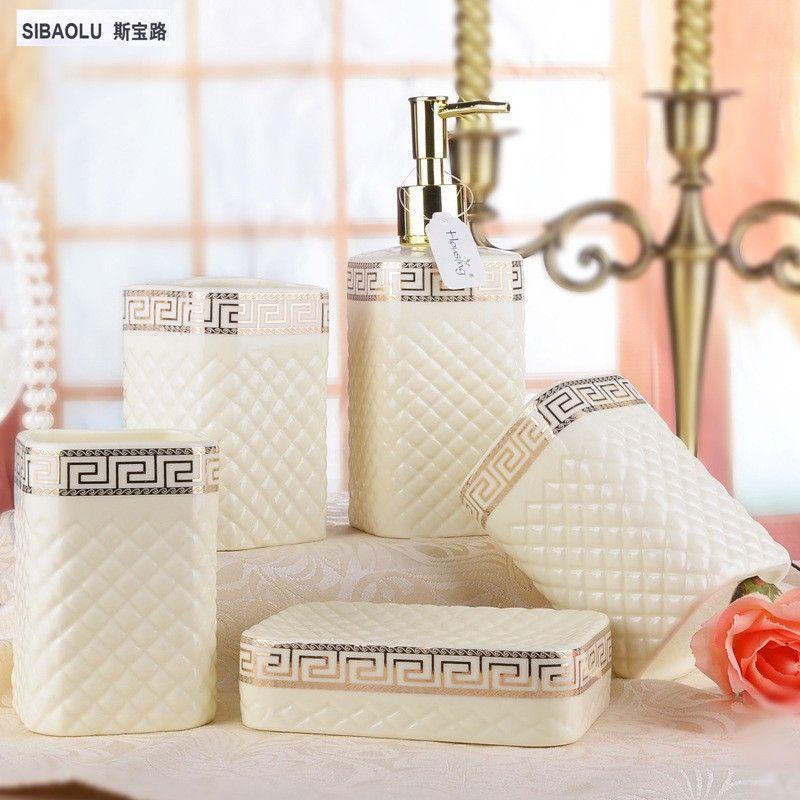 Пять частей Керамика набор белый или цвета слоновой кости фарфора мыть комплект Для ванной серии Ванная комната аксессуар Экологичное сред...